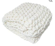 "Silver One Chunky Knitted Throw Blanket, Cream, 50"" x 60"""