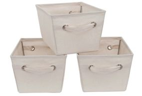 Mainstays Medium Canvas Bins, 3-Pack