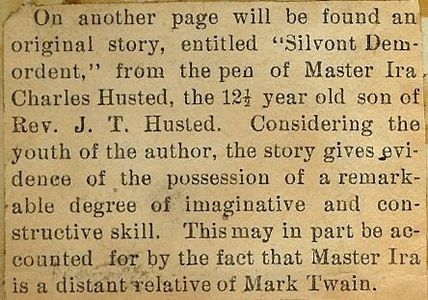 Young relative of Mark Twain writes story