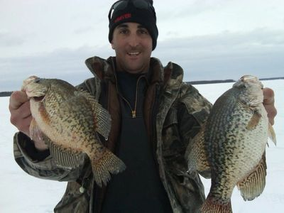 A couple of big crappies caught during a winter outing