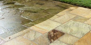Indian Stone Patio cleaned, West Kirby, Wirral, Merseyside.