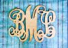 "Wooden Script Monogram with 3 Letters 16"" x 20"" ~ $22.00"