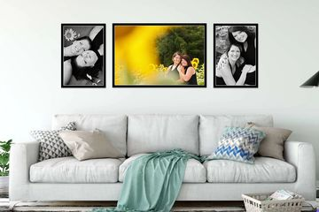 three framed photographs of mother and daughter hanging on the wall over sofa
