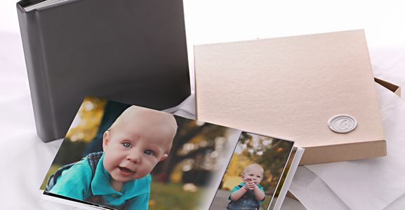 lay-flat leather bound modern classic photo album with display box
