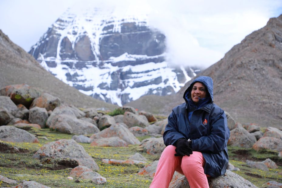 Mochitha in front of Mount Kailash / Kailasam with Moksha Team in 2019 Trip