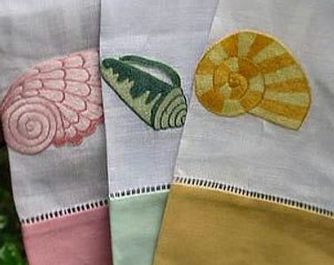 Embroidered Linen Shell Tip Linen Hand Towels