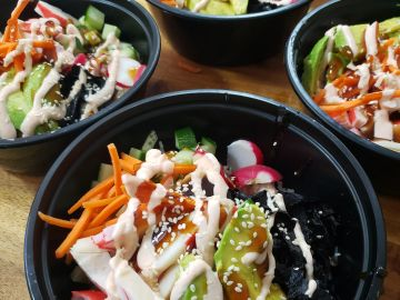 Take out. To go. California Roll. Sushi. California Sushi Bowl