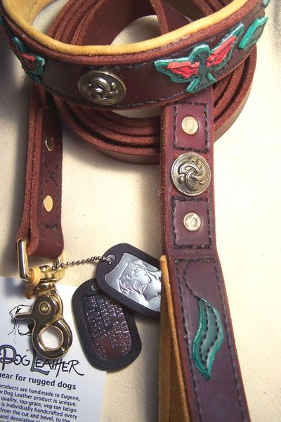 Custom leash and collar set with hand-cut and stitched phoenix motif