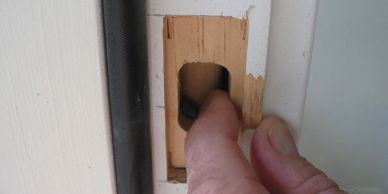 The strike plate on a door is weak too. Just three-eighths of an inch to break. This, in combination with the weakness in the door, is where most break-in damage is done. And both are expensive to repair!