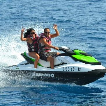 Couple riding a seadoo jet ski in Hollywood Florida