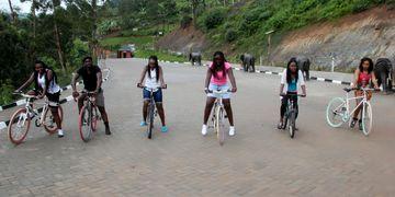 Students enjoying our mountain bikes