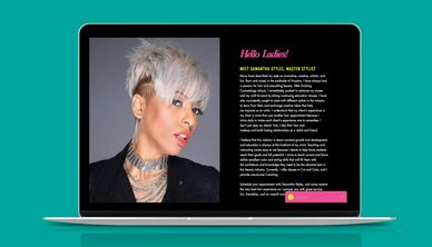 Image of a previously edited website for Samantha Stylez.