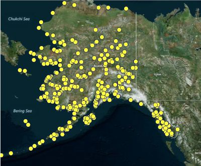 Contaminated sites spread through Alaska (some sites have been remediated)