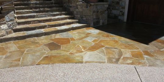 flagstone and washed aggregate driveways