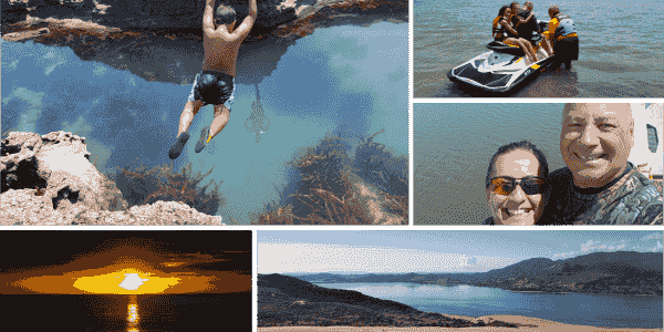 5 image montage. Person jumping into a rock pool, jet ski on the water, sunset and a harbour  image
