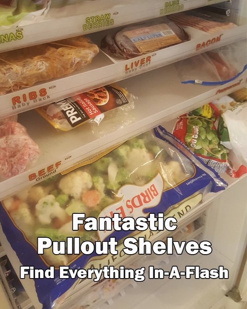 Fantastic Organizer adjustable pullout shelves with labels for freezers and refrigerators