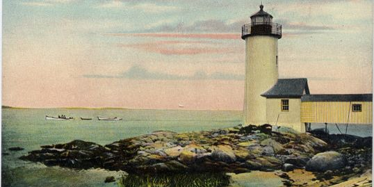 vintage postcard of Annisquam Light, Gloucester MA