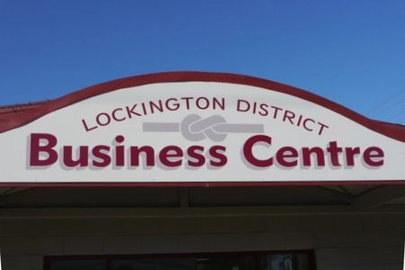 Exterior building signage for Lockington District Business Centre. Rochester-Echuca-Moama signs