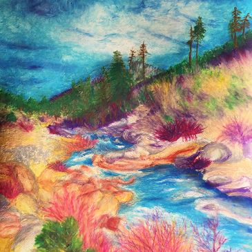 Pastel drawing of river stream surrounded by a mountainous scenery