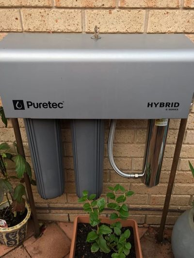 Pictured is a Hybrid G7 Puretec Water Filtration System