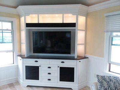 This is a beautiful custom built in entertainment unit we built in Long Beach Island, NJ