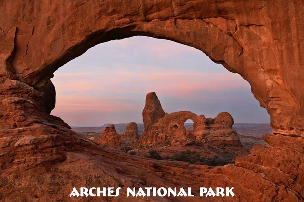 Double arch view at Arches National Park in Utah