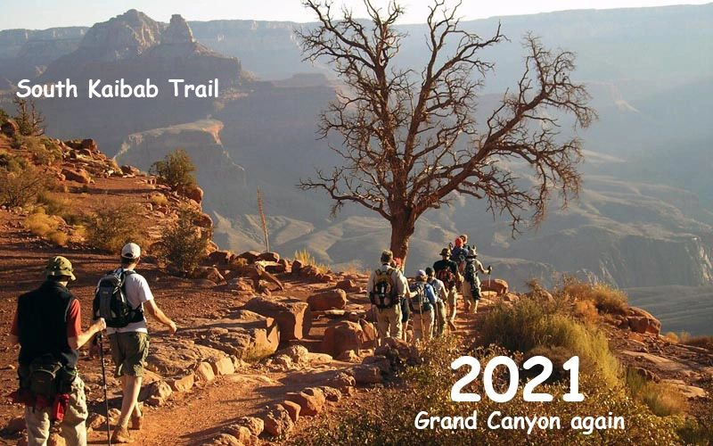 Hikers descending South Kaibab Trail into Grand Canyon