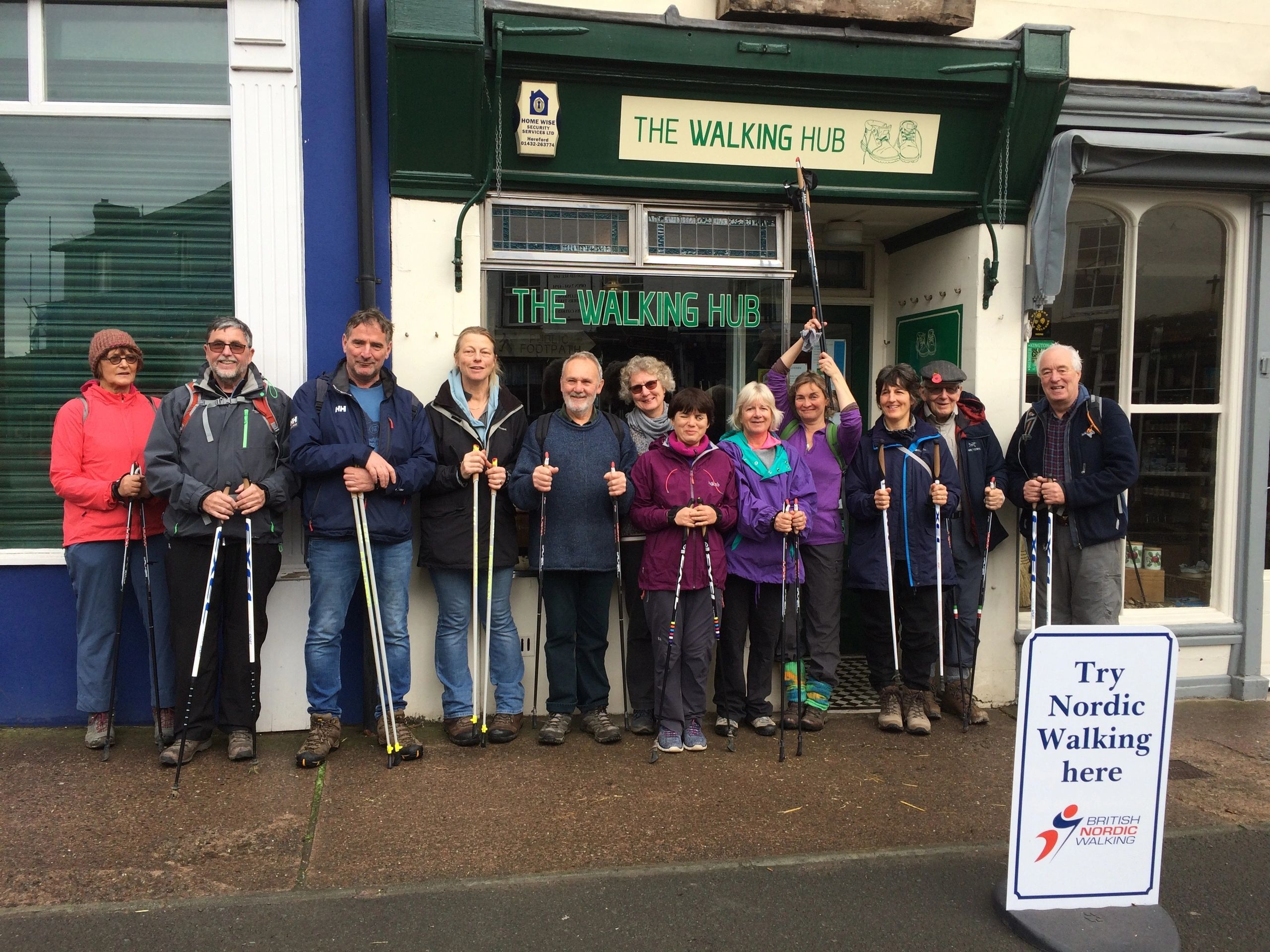 A group of Nordic walkers outside The Walking Hub in Kington on Offa's Dyke Trail