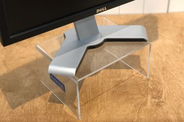 acrylic monitor stand for optimal screen placement for ergonomic and orthopedic medal protection