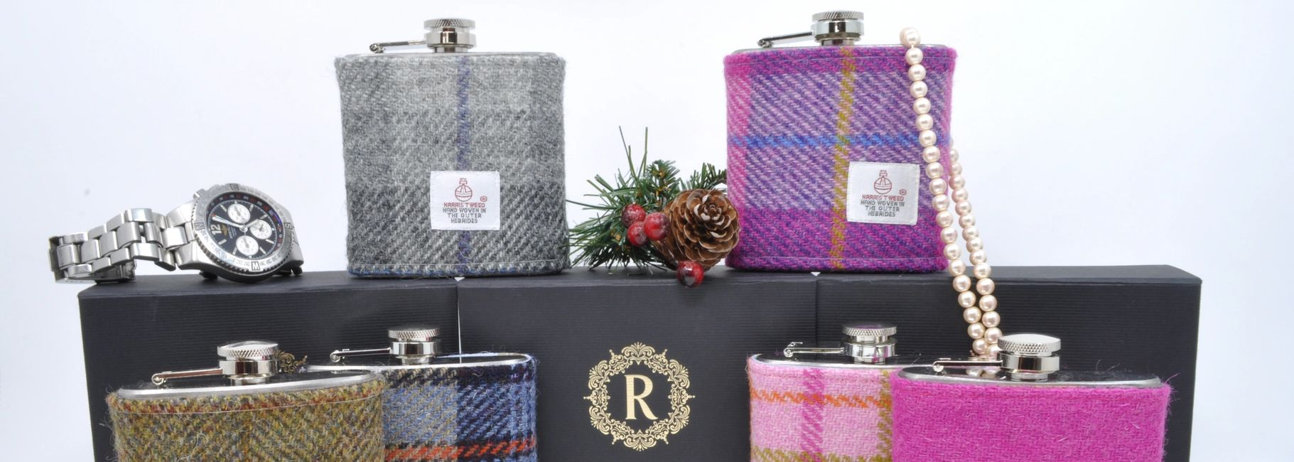 Mens Harris Tweed Hip Flasks and Ladies Hip Flasks in gift box Pink MacKenzie Olive Hunting Tweed