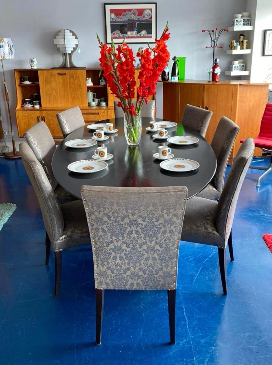 Julian Chichester Ebonised Oak Oval Dakota Dining Table With Hand Beaten Nickel Base With Eight Silver