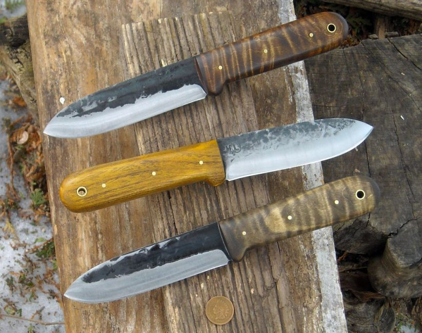 ML Knives Custom Kephart Knives. Tiger Maple kephart Antiqued Osage Kephart
