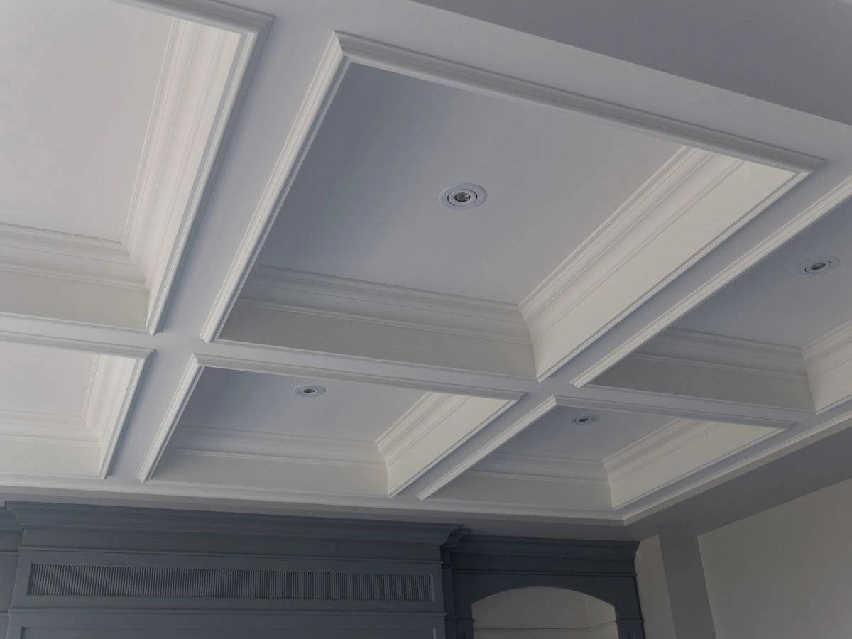 faux coffered ceiling beams