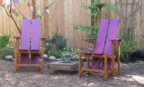 lounge chair outdoor furniture handcrafted Seattle WA Northwest wooden patio garden colorful comfort