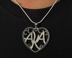 Alpha Kapa Alpha crystal heart necklace