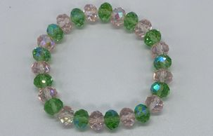 Alpha Kappa Alpha pink and green crystal bead bracelet