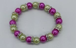 Alpha Kappa Alpha Pink and Green Beaded Bracelet