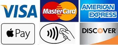 wE ACCEPT MAJOR CREDIT CARDS - VISA MASTERCARD AMERICAN EXPRESS DISCOVER AND APPLE PAY