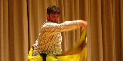David of Zuut bellydancing at the Albright-Knox Art Gallery in Buffalo NY