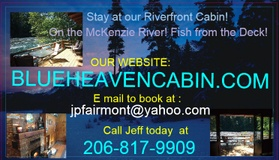 McKenzie River Cabin Rental- Blue Heaven River Cabin
