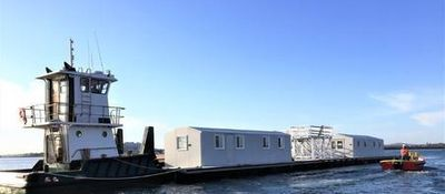 RM Products Ltd. Non-Corrosive, Modular, Fiberglass Office on a barge. Perfect for saltwater environment.