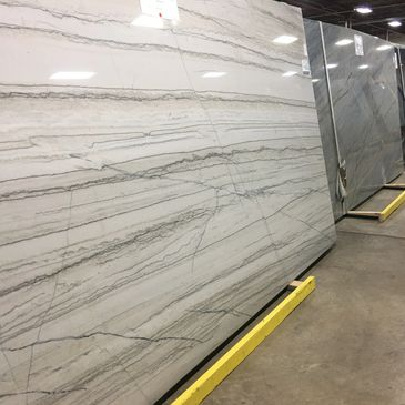 White Quartzite. Natural Stone found in our showroom. Midwest Specialty Products.