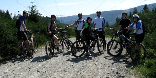 family, group, trail, wilderness, tour, mtb, family, guide, sky, trees, outdoors, mountain bike, mtb