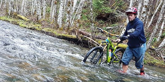 river, mountain bike, biker, trees, trail, river, moss, Vancouver Island