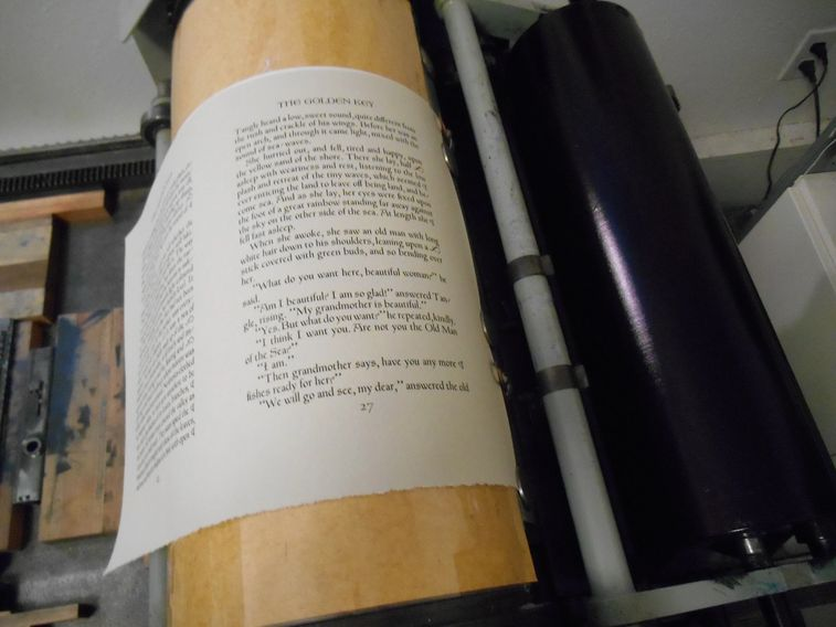 Another page rolls off the Vandercook press.  Pegana Press Makers of Fine Press Books.