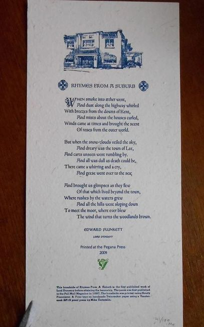 Lord Dunsany Rhymes From A Suburb Broadside. Pegana Press 2009