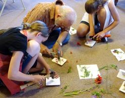"Family creating Nature and Art Journey ""book"" covers after their hike together at Colwell Cedars."