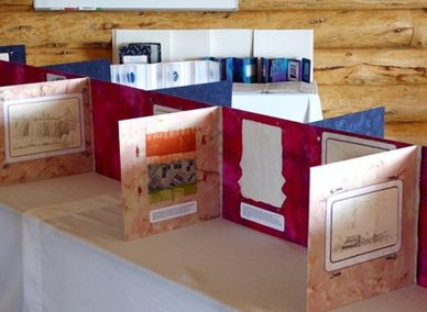View of Katherine Colwell's 22-foot long embroidered book, Red White Blue in Utah.