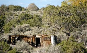 Old homestead corral and sheds remain at Colwell Cedars Retreat.