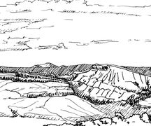 Plein air pen and ink drawing of Black Canyon of Gunnison, by Katherine Colwell.